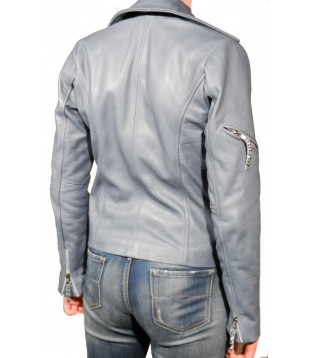 Woman leather jacket in cow sauvage model Ophelie color blue