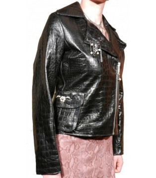 Woman leather jacket model Rockita color black in cow leather