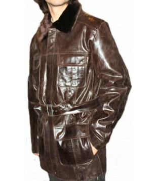 Man leather coat model Jerome