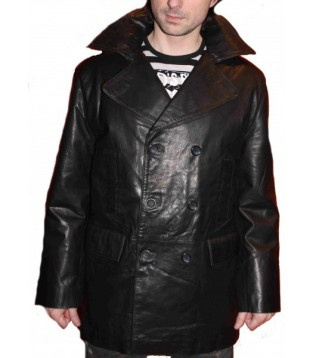 Man leather coat model Christian