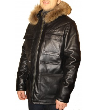 Man leather coat model Micha