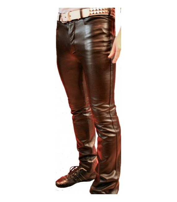 Man leather pant black lambs model Eliot