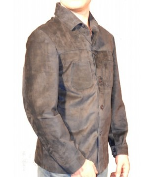 Man leather shirt color brown model Rick