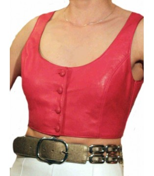 Pink leather bustier model Nita
