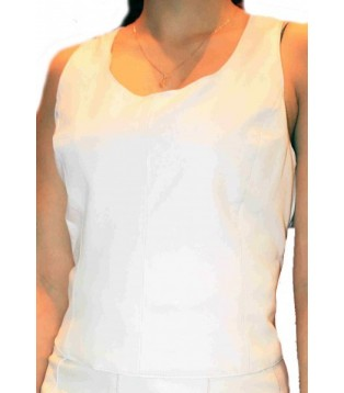 Woman's white leather tee shirt model Megan