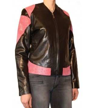 Woman's lamb and comb leather jacket model Cléa