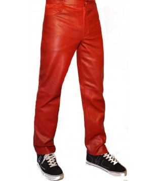 man leather pant red model Benoit