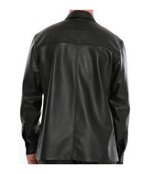 Man leather shirt color black model Bono