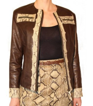 Woman's leather jacket model Fisila