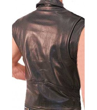 Man leather vest model Flash