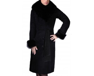 Women's Shearling Sheepskin Coat with Toscana Trim and black Fox Fur Collar