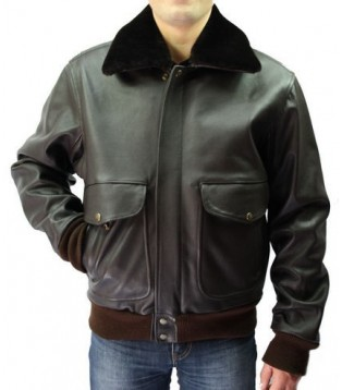 Men leather jacket model Aviator cow brown