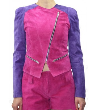 woman leather jacket color Pink and purple model Sania