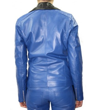 woman leather jacket color blue and black model Angie