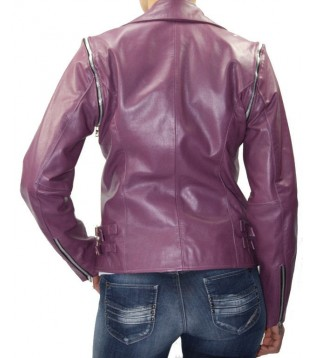 woman leather jacket color purple and model Atela