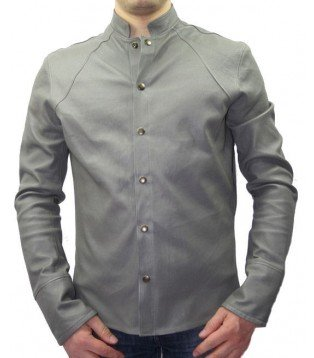 Man leather shirt color grey model Patrice