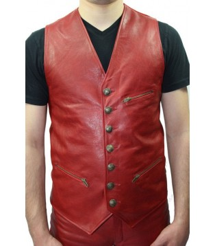 Man leather vest model Lario