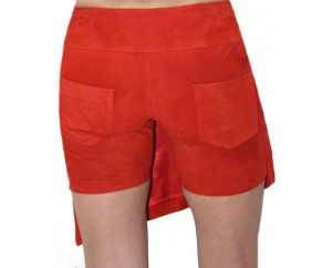 Lamb leather short skirt model Chania red color