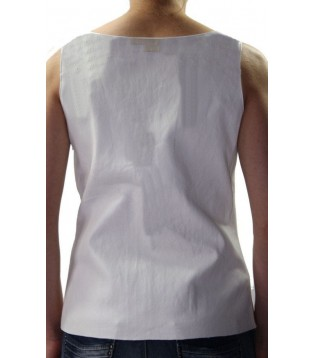 Woman's leather tee shirt white color model Ornella