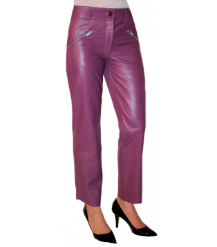 Woman leather pant model Jenna