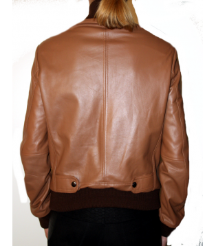 Women jacket leather color red model Dika