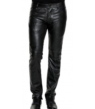 Man leather pant black model Joris