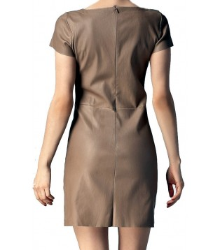 Robe cuir taupe