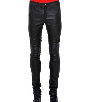 Man leather pant lambs blue model Paul