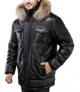 Man leather coat model Pieric