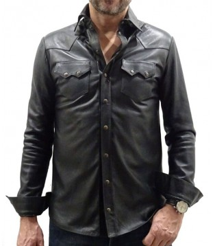 Man leather shirt color brown model Kostia