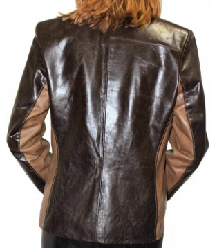 Woman's leather jacket model Ivana