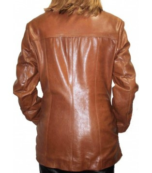 Woman's leather jacket model Catie
