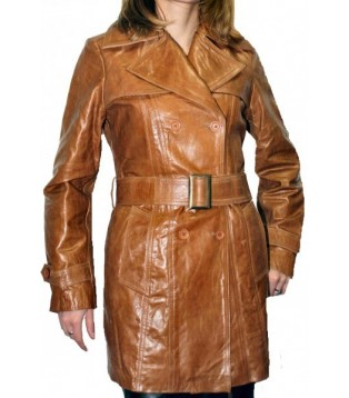 Woman's leather coat model Katy