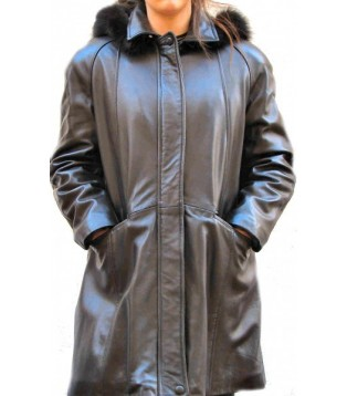 Woman's leather coat model Flora