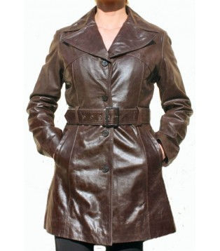 Woman's leather coat model Elysa