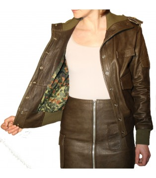 JACKET LEATHER WOMAN MODEL SNIPPER IN COW SAUVAGE GREEN