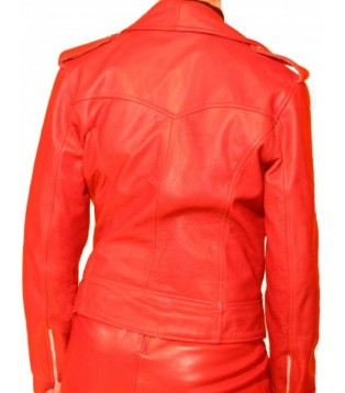 JACKET LEATHER WOMAN NAME PASSY IN COW SAUVAGE COLOR RED