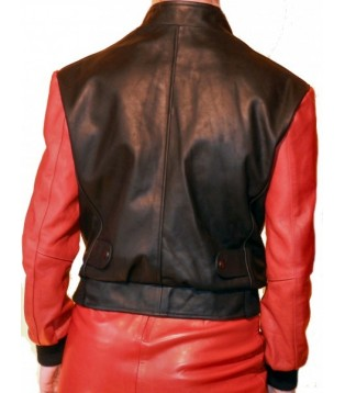 JACKET LEATHER WOMAN MODEL RICHIE COLOR BLACK AN RED