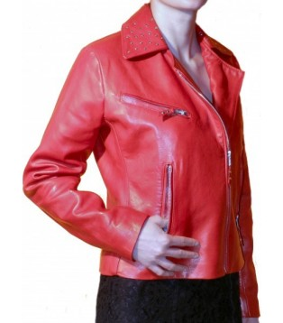 Woman leather jacket model Roja red color