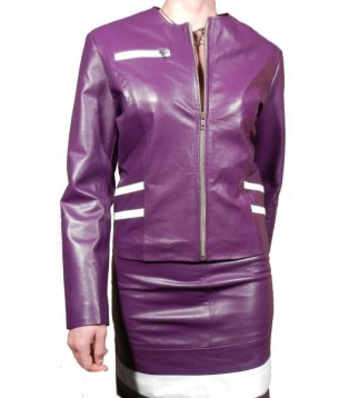 Woman jacket leather model Cerex color Purple